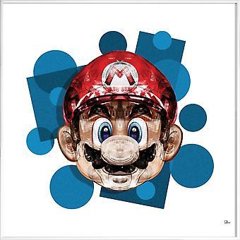 JUNIQE Print - Super Plombier - Mario Poster in Blue & Red