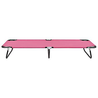 vidaXL Taittuva Aurinkotuoli Steel Pink