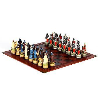 Jogo de xadrez de boneca de resina colecionável em tema guerreiro mongol