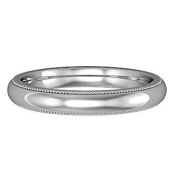 ジュエルコロンドン18ctホワイトゴールド - 3mmプレミアムコート形ミルグレインエッジバンドコミットメント/結婚指輪