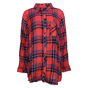 Tolani Collection Women's Top Regular Plaid Tunic Print Back Orange A383438