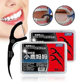 новый 50шт набор зубной нити черный бамбуковый уголь межзубные щетки для полости рта чистый sm62269