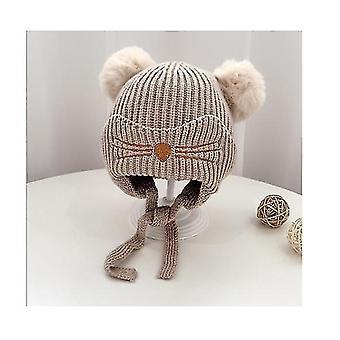 Niños pequeños Bebé sombrero de invierno, earflap punto de gorra caliente de lana forrado Beanie para niñas bebés (CAQUI)
