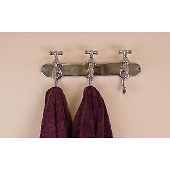 Porte-serviettes, trois crochets avec robinet Desgin