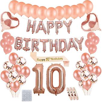 10. Geburtstagsdeko Rosegold für Mädchen : Folienballons Happy Birthday Banner Girlande und