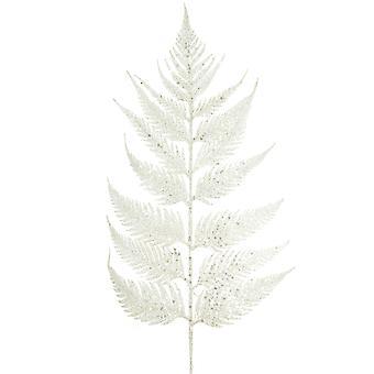 55cm weiß glittered Leder Fern Stiel für Weihnachten Floristry Handwerk