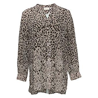 Belle by Kim Gravel Women's Top Animal Print Button Front Brown A374478