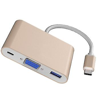 Type-C to VGA+usb3.0+pd expansion converter, type-c three-in-one docking station(Gold)