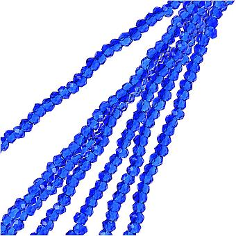 Crystal Beads, Faceted Rondelle 1.5x2.5mm, 2 Strands, Transparent Dark Sapphire