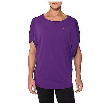 Asics المرأة السيدات التدريب اللياقة البدنية المتضخم قميص المحملة الأرجواني