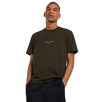 Fred Perry Men's Embroidered T-Shirt Regular Fit Khaki