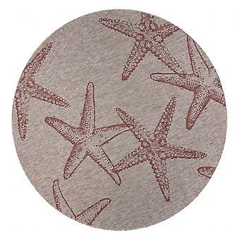 8' Round Red Starfish Indoor Outdoor Area Rug