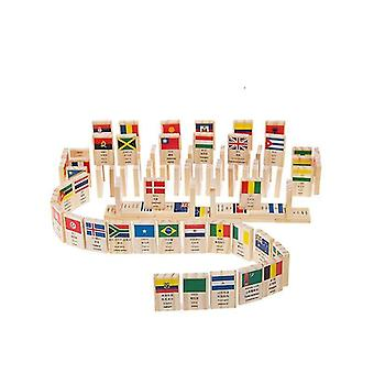 Wooden blocks 100pcs wooden flag domino game learning flags world countries educational toys christmas gifts|blocks