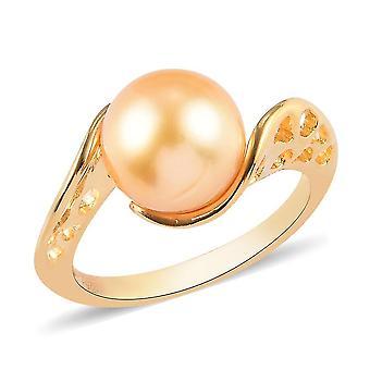 Royal Bali Gold Pearl Bypass Ring Vergoldet Silber Versprechen Geschenk 5.87ct (T)