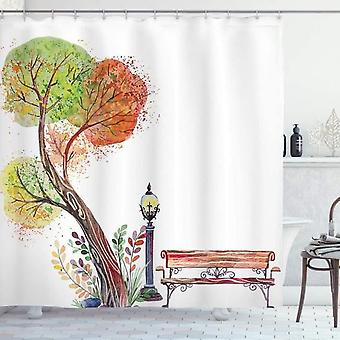 Forest Shower Curtain, Retro In Autumn Park, Fabric Bathroom Decoration Set With Hook 120x180cm