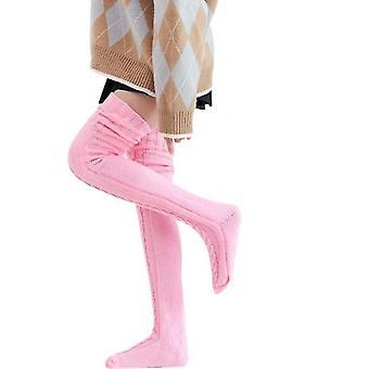 Frauen's gestrickte Socken über dem Knie lange Rohr verlängert Pile Socken