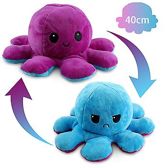 40cm Giant Reversible Octopus Stuffed Animal Reversible Happy Sad Octopus Plush Toy Show Your Mood Without Saying A Word! Purple And Blue