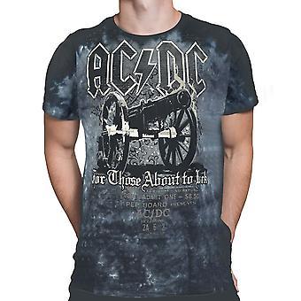 Vloeibare blauw-AC/DC kanon tie dye-korte mouw t-shirt.