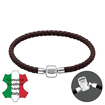 Plain - 925 Sterling Silver + Leather Cord Bead Bracelets - W22503x