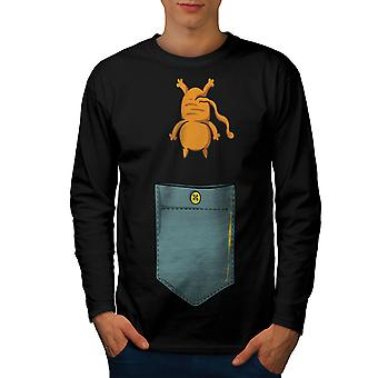 Cute Cat Pocket Funny Men BlackLong Sleeve T-shirt | Wellcoda