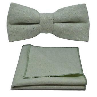 Hortelã verde Herringbone gravata & conjunto de bolso quadrado