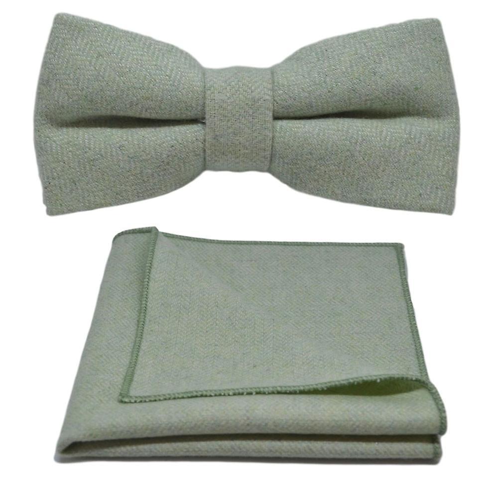 Mint Green Herringbone Bow Tie & Pocket Square Set