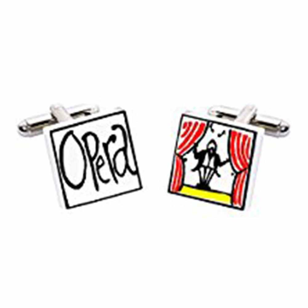 Opera Cufflinks by Sonia Spencer, in Presentation Gift Box. Hand painted
