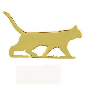 9ct Gold 21x35mm Cat in Silverhouette Brooch