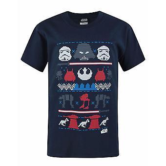 Star Wars para crianças/Boys oficial lado negro Fairisle Natal camiseta