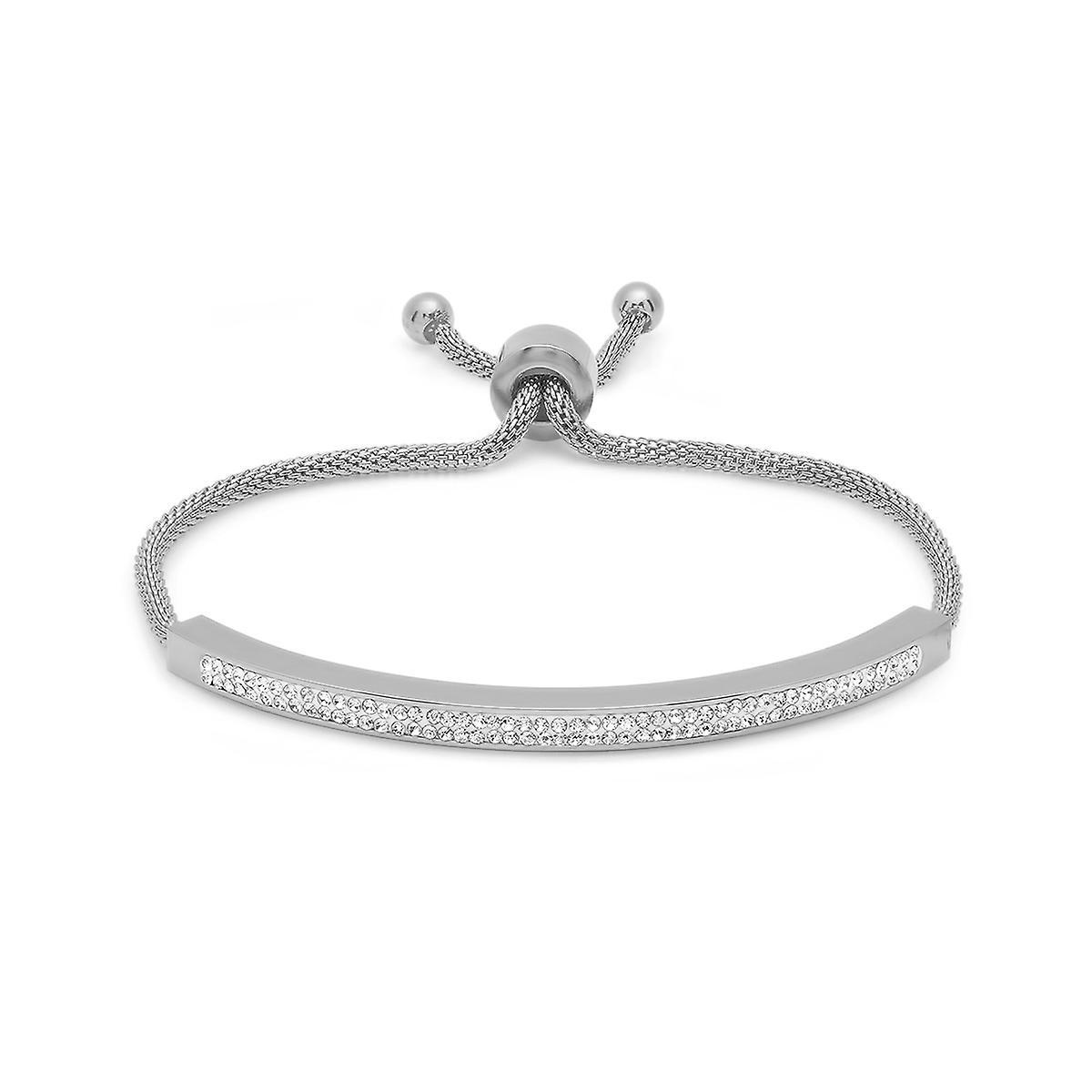 Ladies Stainless Steel White Simulated Diamond Id Drawstring Bracelet