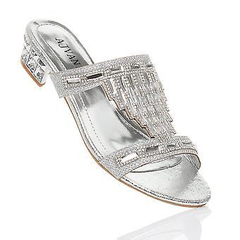 Ajvani naisten alhainen lohko kantapää diamante helmi iltana luistaa muulit flip flops Sandaalit kengät
