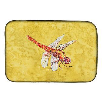 Carolines Schätze 8866DDM Libelle auf gelben Schale trocknen Matte