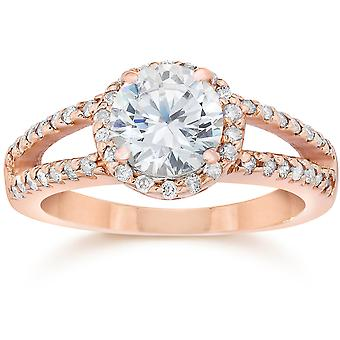 2,00 CT Split Schaft Diamond Halo Verlobungsring 14K Rose Gold