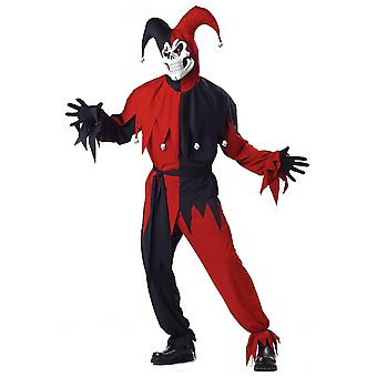 Evil Jester Mardi Gras Red Black Halloween Men Costume Plus