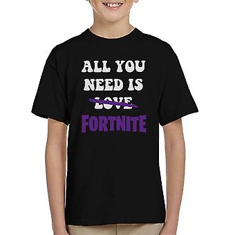 Alles was Sie brauchen ist Liebe keine Fortnite Kinder T-Shirt