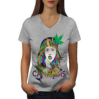 Girl Canabis Pot Rasta Women GreyV-Neck T-shirt | Wellcoda