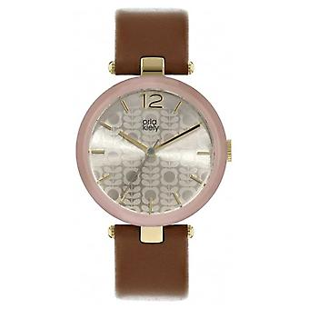Orla Kiely Maxime Tan Leather Strap Patterned Dial OK2214 Watch