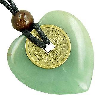 Herz Geld Amulett Glücksmünze in grünen Aventurin Stein Halskette