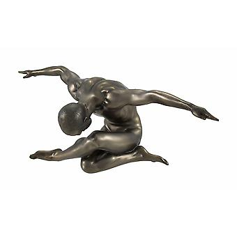Bronzed Nude Male Sitting with Legs Crossed, Arms Outstretched
