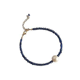 Gemshine - senhoras - pulseira - folheado a ouro - safira - azul - pérola - branco