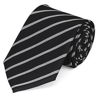 Tie tie tie tie 8cm black grey silver striped Fabio Farini