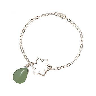 Damen - Armband - 925 Silber - Lotus Blume - Mandala - Chalcedon - Tropfen - Grün - YOGA