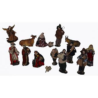 Crib 15 pieces. Set synthetic resin Nativity figurines Alpine 13 cm