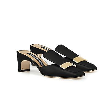 Sergio Rossi thong women's black Leather slippers shoes