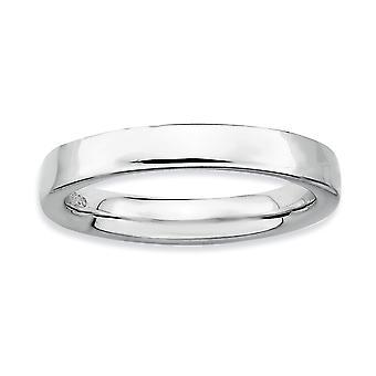 925 Sterling Silber poliert stapelbare Ausdrücke Rhodium Ring Schmuck Geschenke für Frauen - Ring Größe: 5 bis 10