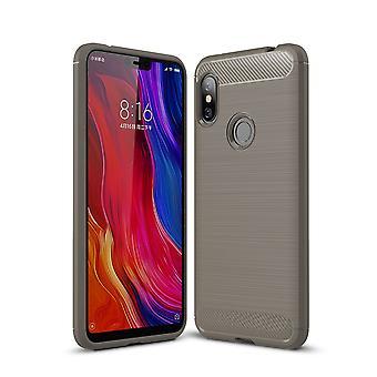 Xiaomi Redmi Note 6 TPU Case Carbon Fiber Optik Brushed Schutz Hülle Grau