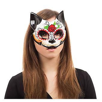 Bnov Day Of The Dead Kitty Half Mask , On Glasses Frame