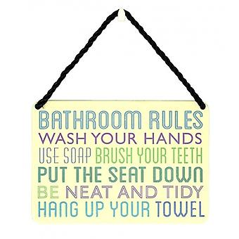 Novelty Bathroom Rules Metal Wall or Door Plaque