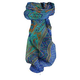 Mulberry Silk Traditional Square Scarf Ami Blue & Aquamarine by Pashmina & Silk