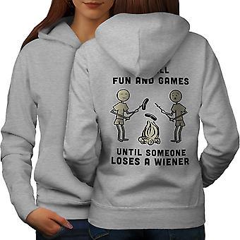 Fun And Games Until Women GreyHoodie Back | Wellcoda